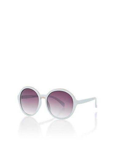 Round Metallic Edge Sunglasses,MINT,large