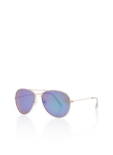 Mirrored Metallic Aviator Sunglasses,PURPLE,large