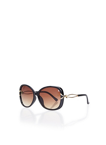 Square Sunglasses with Crystal Arm Accents,BLACK,large