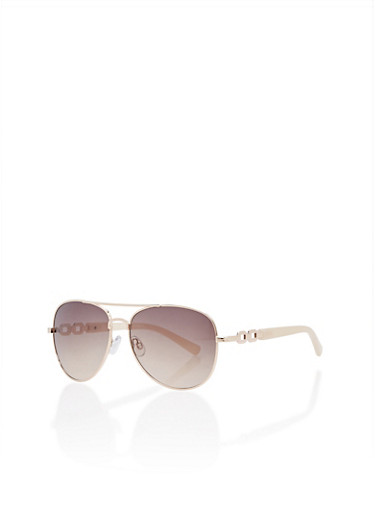 Aviator Sunglasses with Contrast Temples,IVORY,large