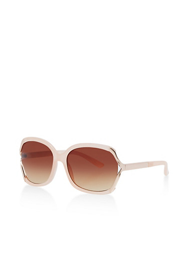 Open Side Plastic Sunglasses with Metallic Temples,BLUSH,large
