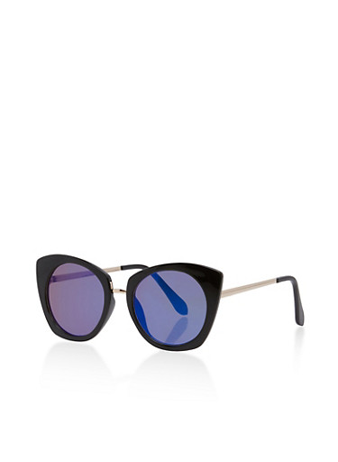 Plastic Cat Eye Mirrored Lens Sunglasses,BLACK/BLUE MIRROR,large