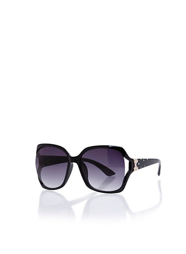Square Sunglasses with Bow Accent and Studded Arms,BLACK,large