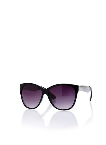 Two Tone Sunglasses with Mirrored Panel,BLACK,large