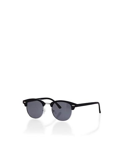 Round Sunglasses with Contrast Rim,BLACK,large