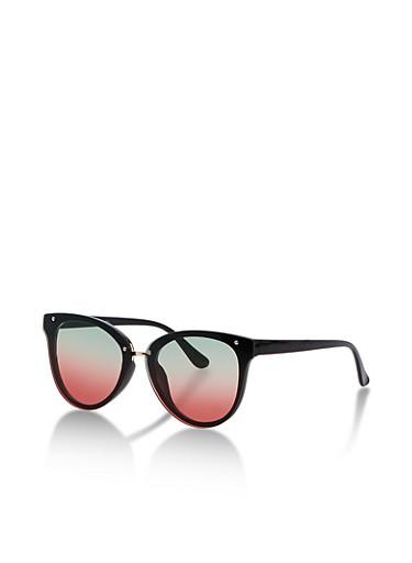 Round Mirrored Cat Eye Sunglasses,BLACK,large