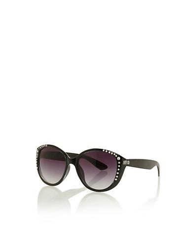 Round Sunglasses with Studded Trim,BLACK,large