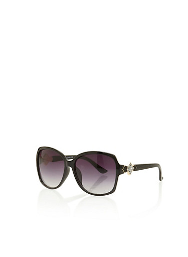 Square Sunglasses with Geo Accents,BLACK,large