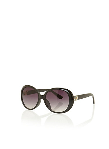 Sunglasses with Crystal Floral Accents,BLACK,large