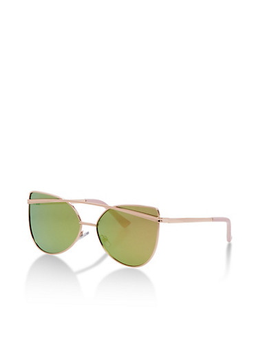Mirrored Cat Eye Sunglasses,ROSE,large