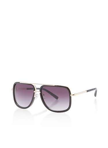 Plastic Metallic Top Bar Square Aviator Sunglasses,BLACK,large