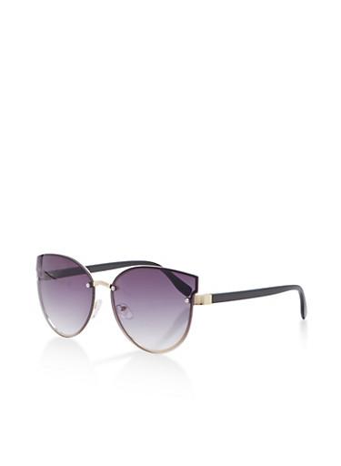 Rimless Textured Bridge Sunglasses,BLACK,large