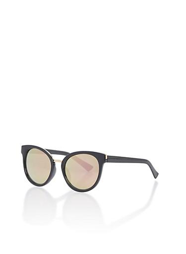 Mirrored Metallic Edge Cat Eye Sunglasses,BLACK/PINK REVO,large