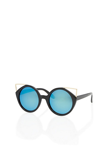 Round Sunglasses with Metallic Cat Eye Detail,BLACK/BLUE,large