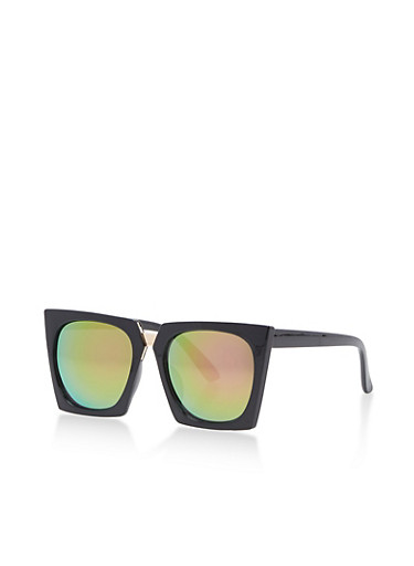 Square Sunglasses with Metal Accent,BLACK/PINK REVO,large