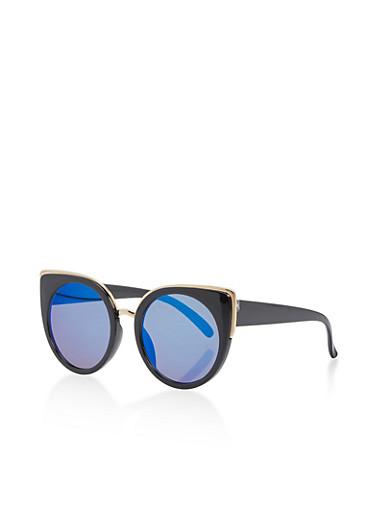 Large Round Mirrored Cat Eye Sunglasses,BLACK/ICE BLUE,large