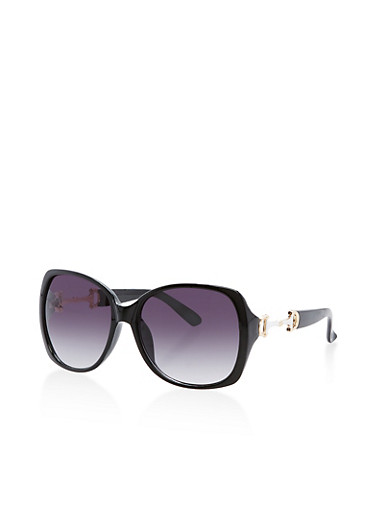 Square Sunglasses with Metallic Side Detail,BLACK,large