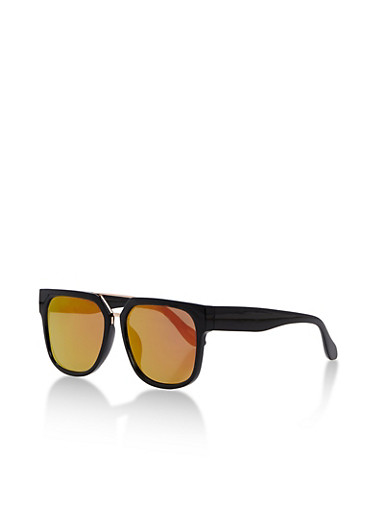 Square Mirror Top Bar Sunglasses,BLACK/PINK MIRROR,large