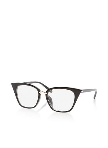 Clear Metallic Bridge Cat Eye Glasses,BLACK,large
