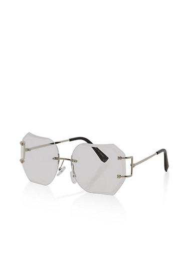 Rimless Geometric Clear Glasses,SILVER,large