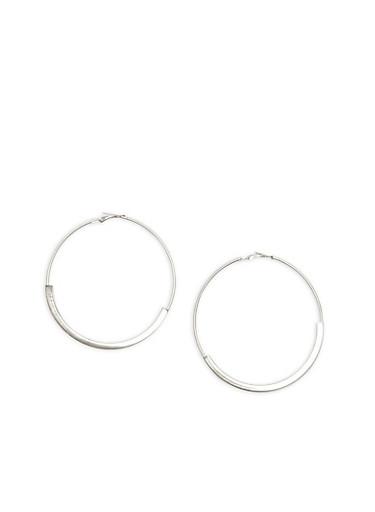 Large Metallic Tube Hoop Earrings,SILVER,large