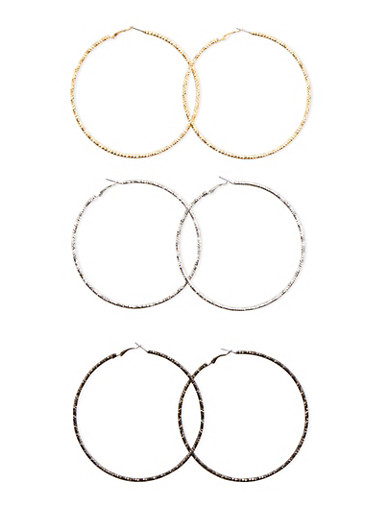 Set of 3 Extra Large Hammered Hoop Earrings,TRITONE (SLVR/GLD/HEMAT),large