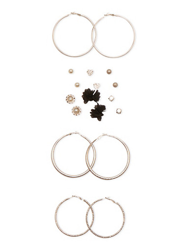 Set of 9 Hoops and Stud Earrings,SILVER,large