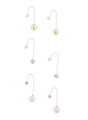 Double Sided Ball Hook Earrings,TRITONE (SLVR/GLD/HEMAT),large