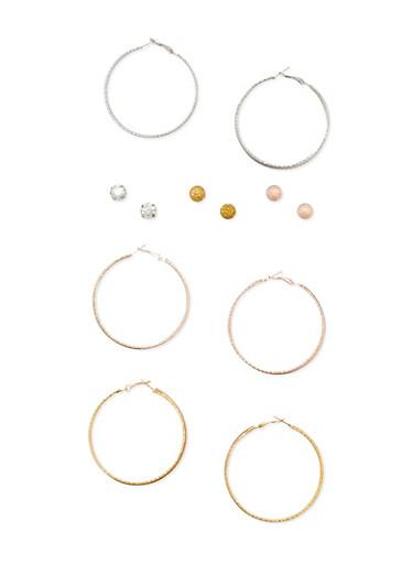 Glitter Hoop Earrings and Rhinestone Stud Earrings,TRITONE (SLVR/GLD/HEMAT),large