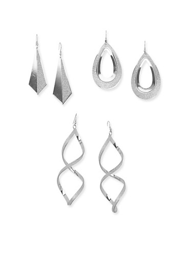 Set of 3 Glitter Drop Earrings,SILVER,large