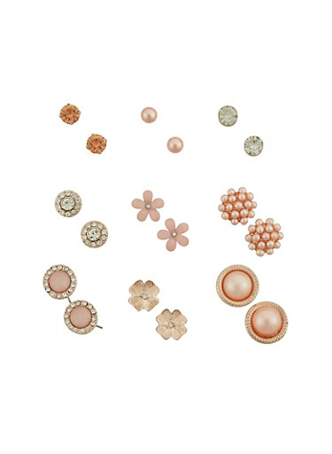 Faux Pearl and Rhinestone Stud Earrings Set,ROSE,large