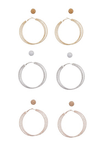 Set of Glitter and Textured Hoop and Stud Earrings,TRITONE (SLVR/GLD/HEMAT),large