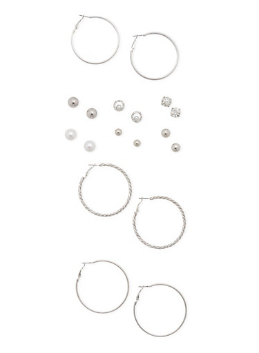 Set of 9 Hoop and Stud Earrings,SILVER,large
