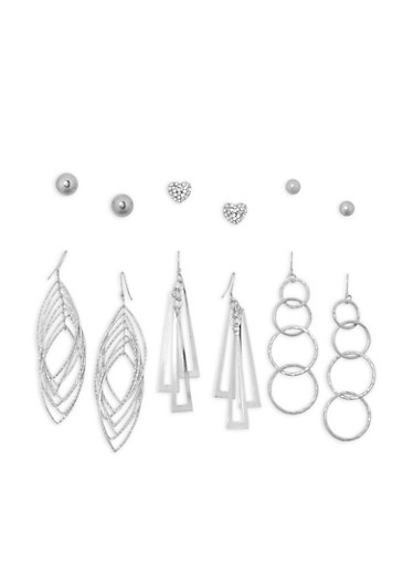 Set of 6 Assorted Drop and Stud Earrings,SILVER,large