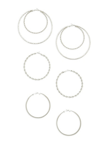 Multi Size Textured Hoop Earrings Set,SILVER,large