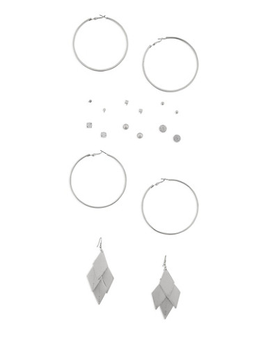 Assorted 9 Piece Earrings Set,SILVER,large