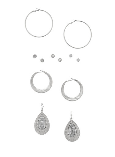 Assorted 6 Piece Earrings Set,SILVER,large