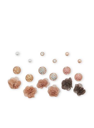 Rhinestone and Fabric Stud Earrings Set,TRITONE (SLVR/GLD/HEMAT),large