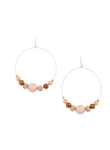 Beaded Hoop Earrings,ROSE,large