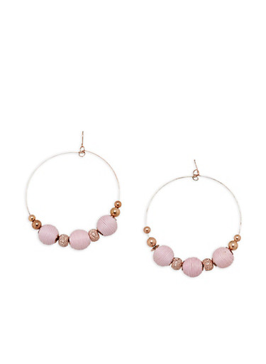 Thread Wrapped Beaded Large Hoop Earrings,BLUSH,large