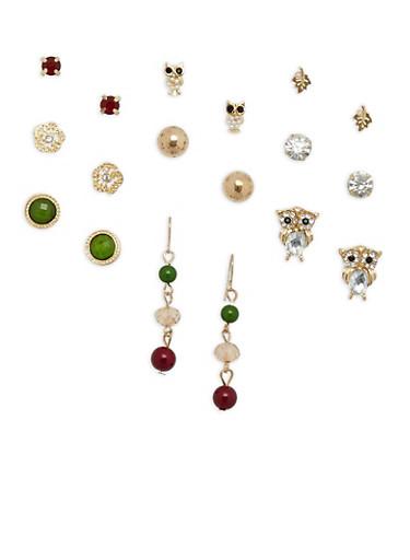 Set of 9 Owl Rhinestone Stud and Drop Earrings,MUSTARD,large