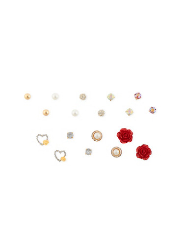 Set of 9 Stud Earrings with Crystal and Rosette Accents,OLIVE,large