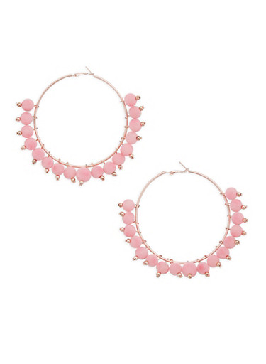 Pom Pom Hoop Earrings,ROSE,large