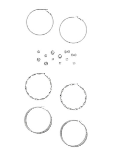 Set of 9 Assorted Rhinestone Studs and Hoop Earrings,SILVER,large