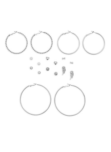 Assorted Stud and Hoop Earrings Set,SILVER,large