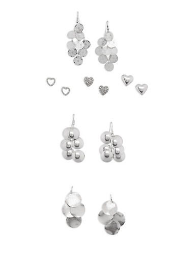 Assorted 6 Piece Heart Stud and Drop Earrings Set,SILVER,large