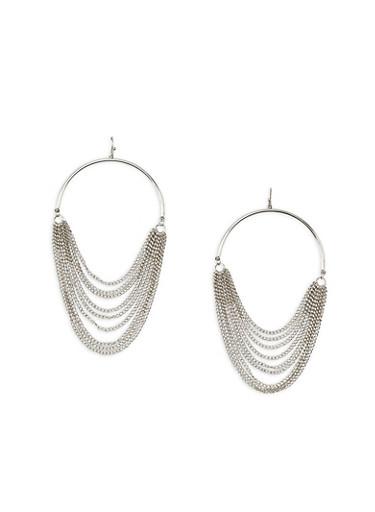Hoop Earrings with Metal Mesh Fringe,SILVER,large