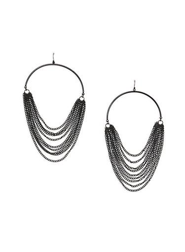 Hoop Earrings with Metal Mesh Fringe,JET,large