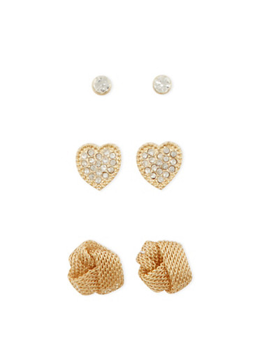 Set of 3 Stud Earrings with Crystal and Mesh Accents,GOLD,large