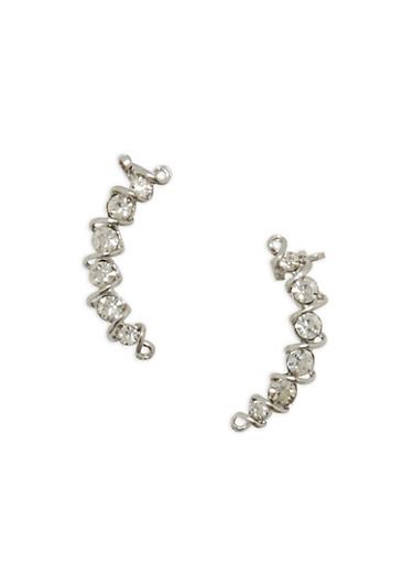 Rhinestone Ear Cuff Earrings,SILVER,large